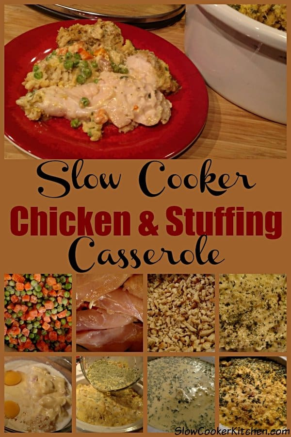 Slow Cooker Chicken Stuffing Casserole. Visit https://SlowCookerKitchen.com for many more delicious slow cooker recipes.