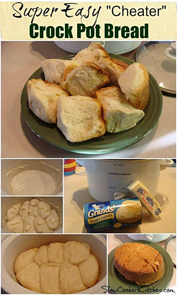 2-Ingredient Cheater Crockpot Rolls! Find this and other super easy recipes at http://SlowCookerKitchen.com