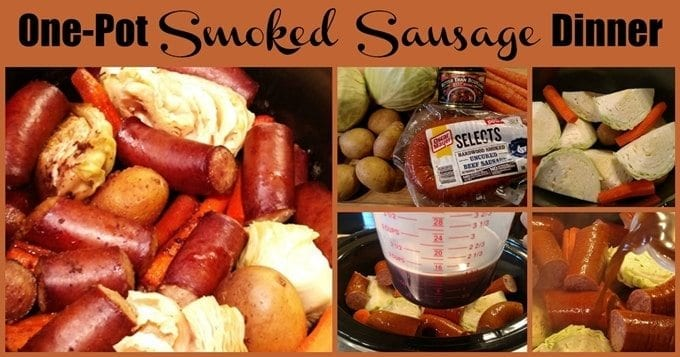 Smoked Sausage Dinner! Find this and more yumminess @ https://www.slowcookerkitchen.com