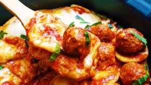 Crockpot Meatball Ravioli Casserole