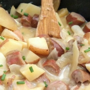 slow cooker sausage and potatoes image