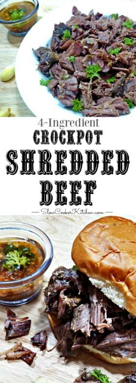 shredded beef for sandwiches made in the slow cooker