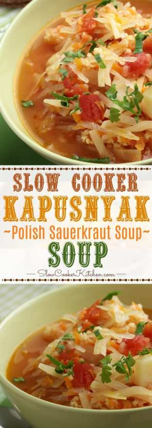 Slow Cooker Polish Sauerkraut Soup is made with fermented sauerkraut and is freezer friendly