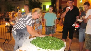 Huge Pita Filled with Spinach  Cooked Over Open Fire- Makarska