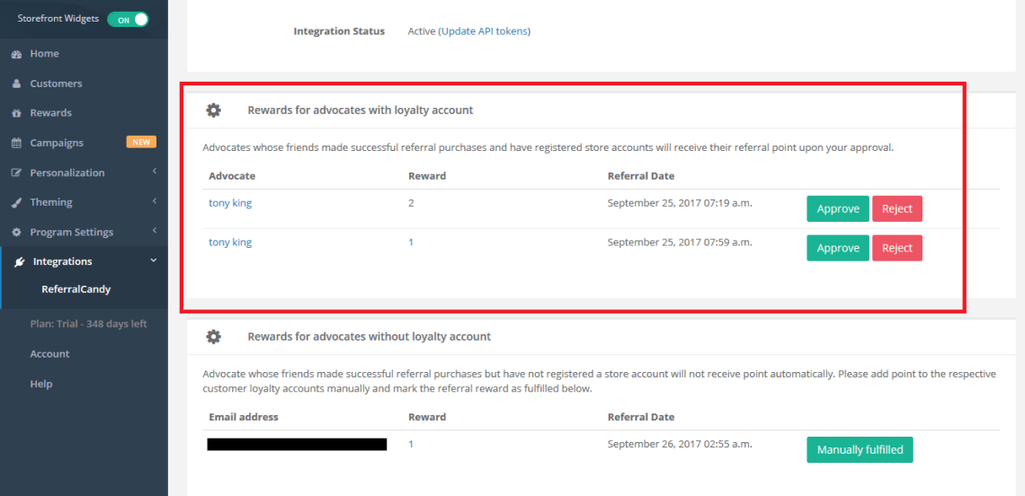 shopify rewards referral program integration
