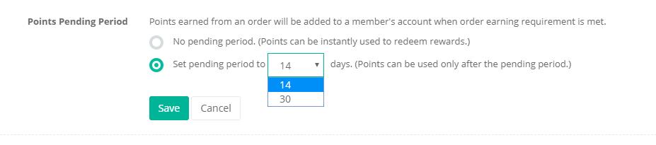 loyalty program pending points period