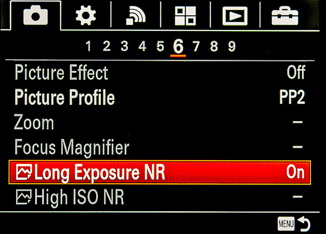 Figure 2. Many cameras have a menu setting to reduce noise caused by high ISO, and a second for noise caused by long exposures. © 2019 Steve Anchell