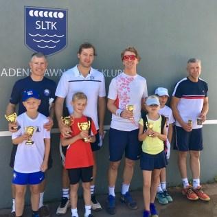 Från vänster till höger pristagarna i GD-dubbel Midboll: 2:a plats Hampus/Björn Drakenberg, 1:a Axel/Per Jönsson, 3:a Linnea/Kristoffer Källeskog och 4:a Adam/Henrik Ryden