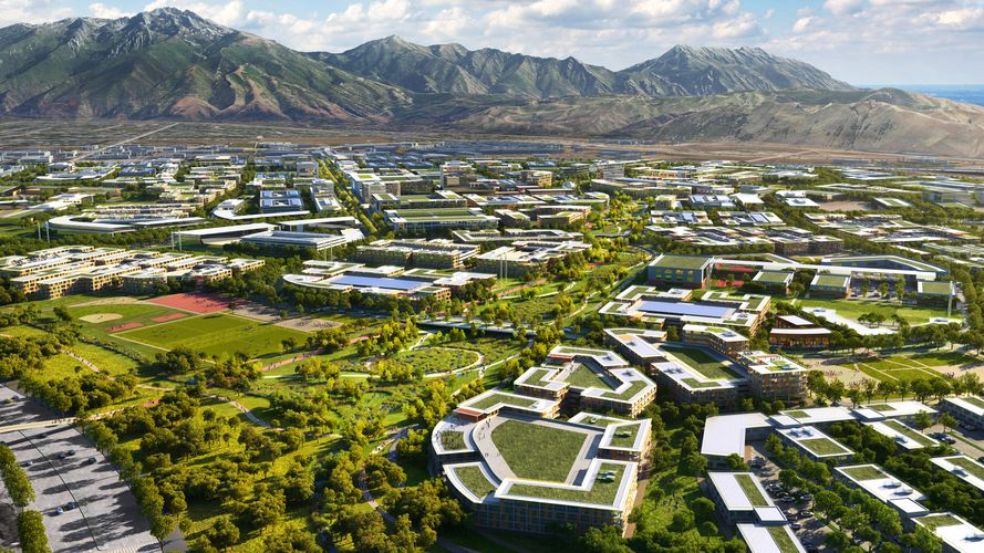 (Rendering by Skidmore, Owings & Merrill, via Point of the Mountain State Land Authority) Residential neighborhoods in The Point, a Utah-backed housing and economic development project proposed on 600 state-owned acres at Point of the Mountain in Draper. The land is to be vacated by Utah State Prison when that facility is moved to Salt Lake City sometime in 2022.