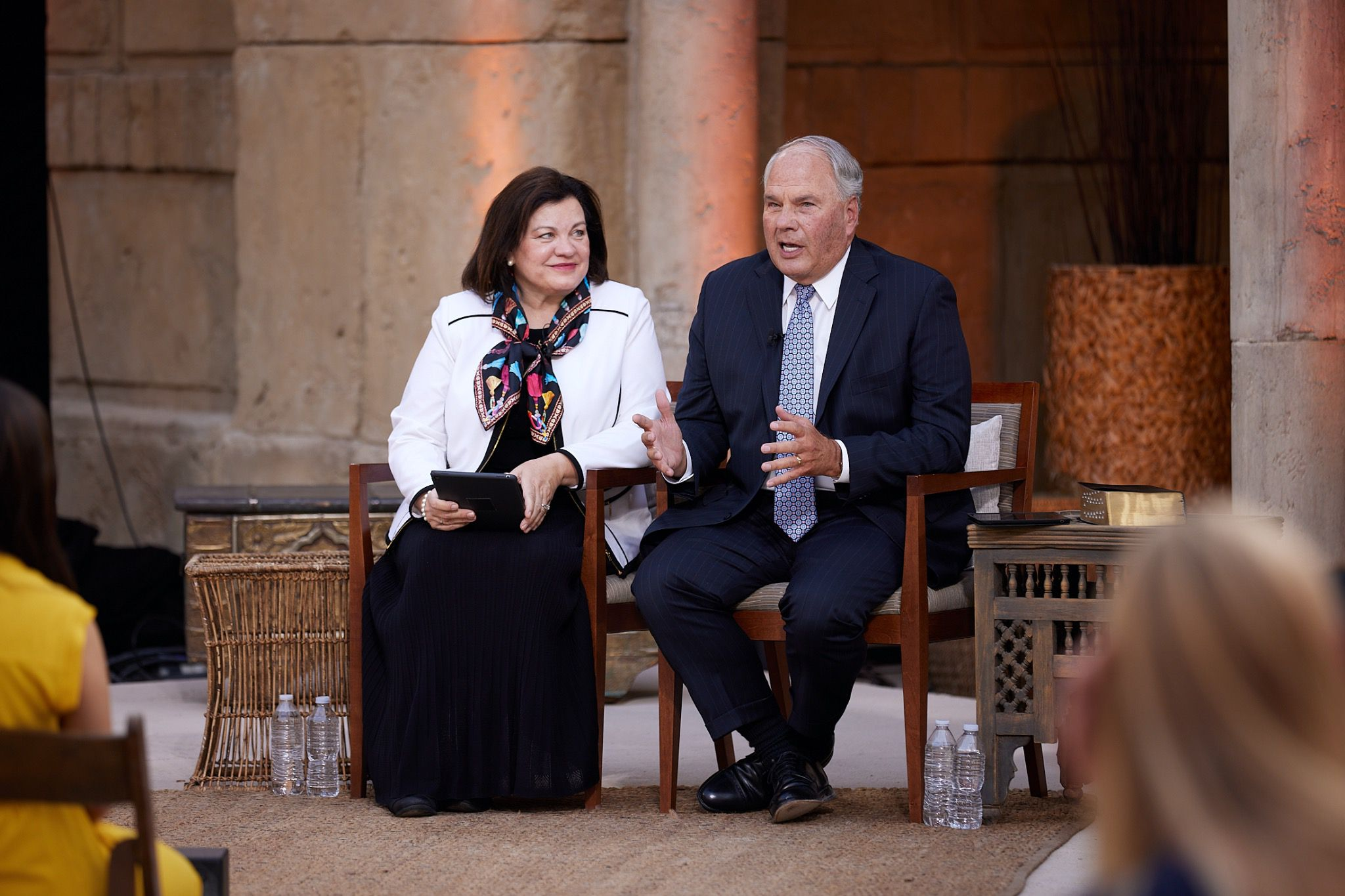 (File photo courtesy of The Church of Jesus Christ of Latter-day Saints) Apostle Ronald A. Rasband and his wife, Melanie, participate in a worldwide Face to Face event for Latter-day Saint young adults on Sunday, Sept. 13, 2020, in Goshen, Utah. The couple will speak this month in the all-virtual BYU Women's Conference.