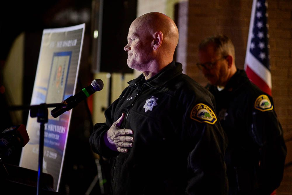 (Trent Nelson | The Salt Lake Tribune) Provo Police Chief Rich Ferguson speaks at a candlelight vigil in Provo on Wednesday Jan. 9, 2019 for Officer Joseph Shinners, who was killed in 2019 while trying to arrest a fugitive.