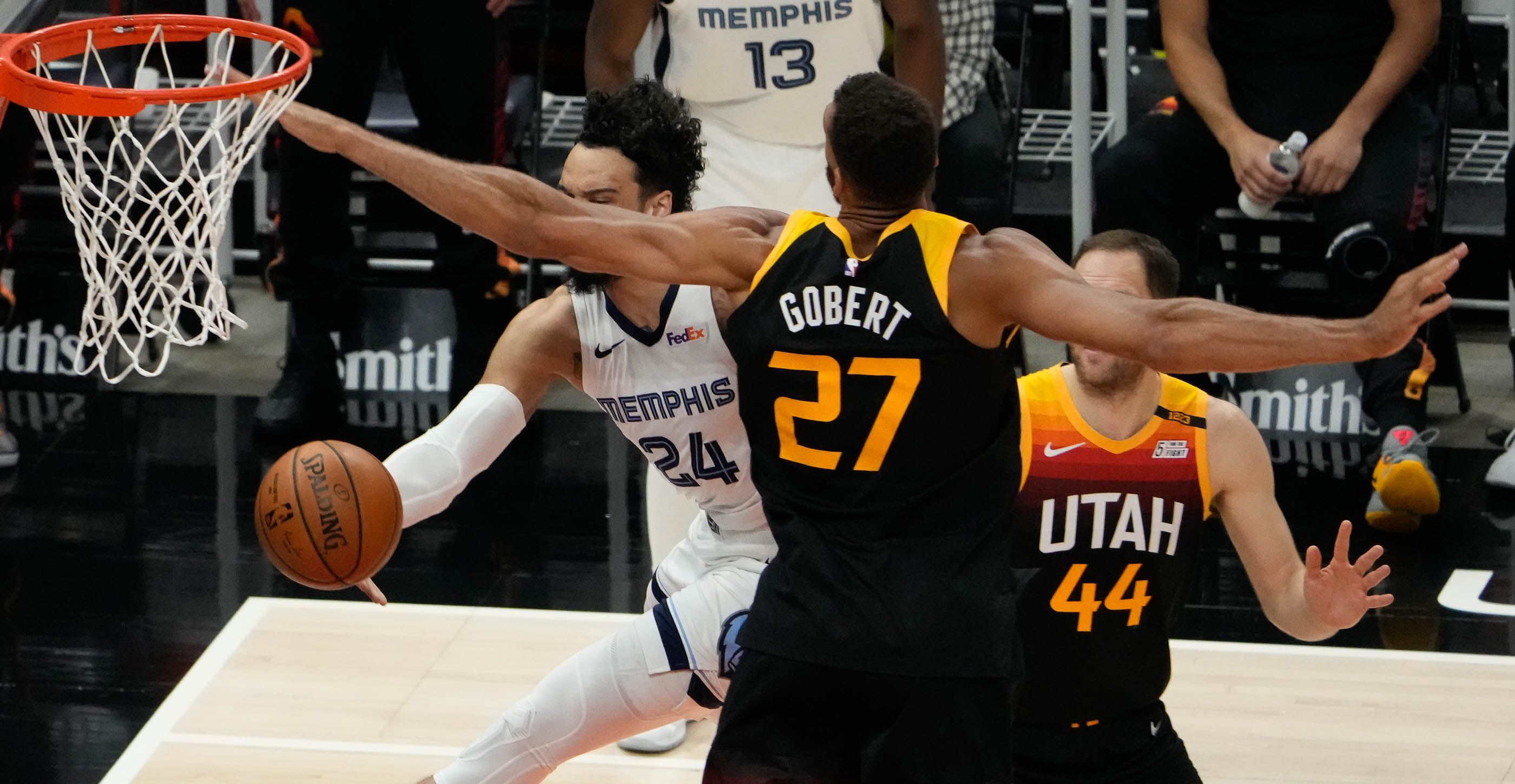 (Francisco Kjolseth | The Salt Lake Tribune) Memphis Grizzlies forward Dillon Brooks (24) tries to get past the wingspan of Utah Jazz center Rudy Gobert (27) in the first half of Game 5 of an NBA basketball first-round playoff series Wednesday, June 2, 2021, in Salt Lake City, UT.