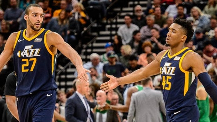 Image result for donovan mitchell and rudy gobert