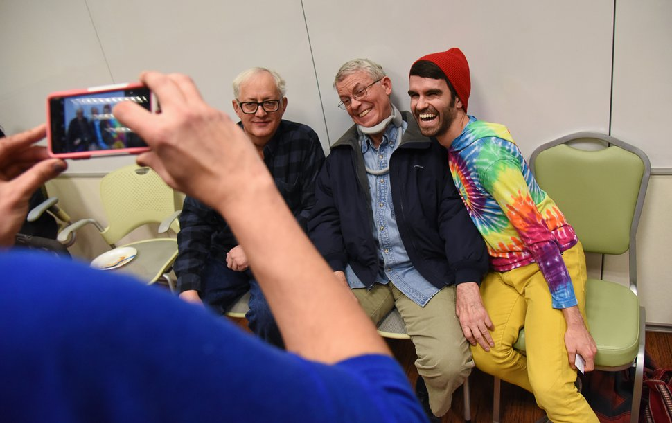 (Francisco Kjolseth | The Salt Lake Tribune) Mark Sargeant, center, is joined by his neighbor John Sorensen, left, and his son John as they gather for a photo during a recent ALS support group in Riverton. These are the only people who share my