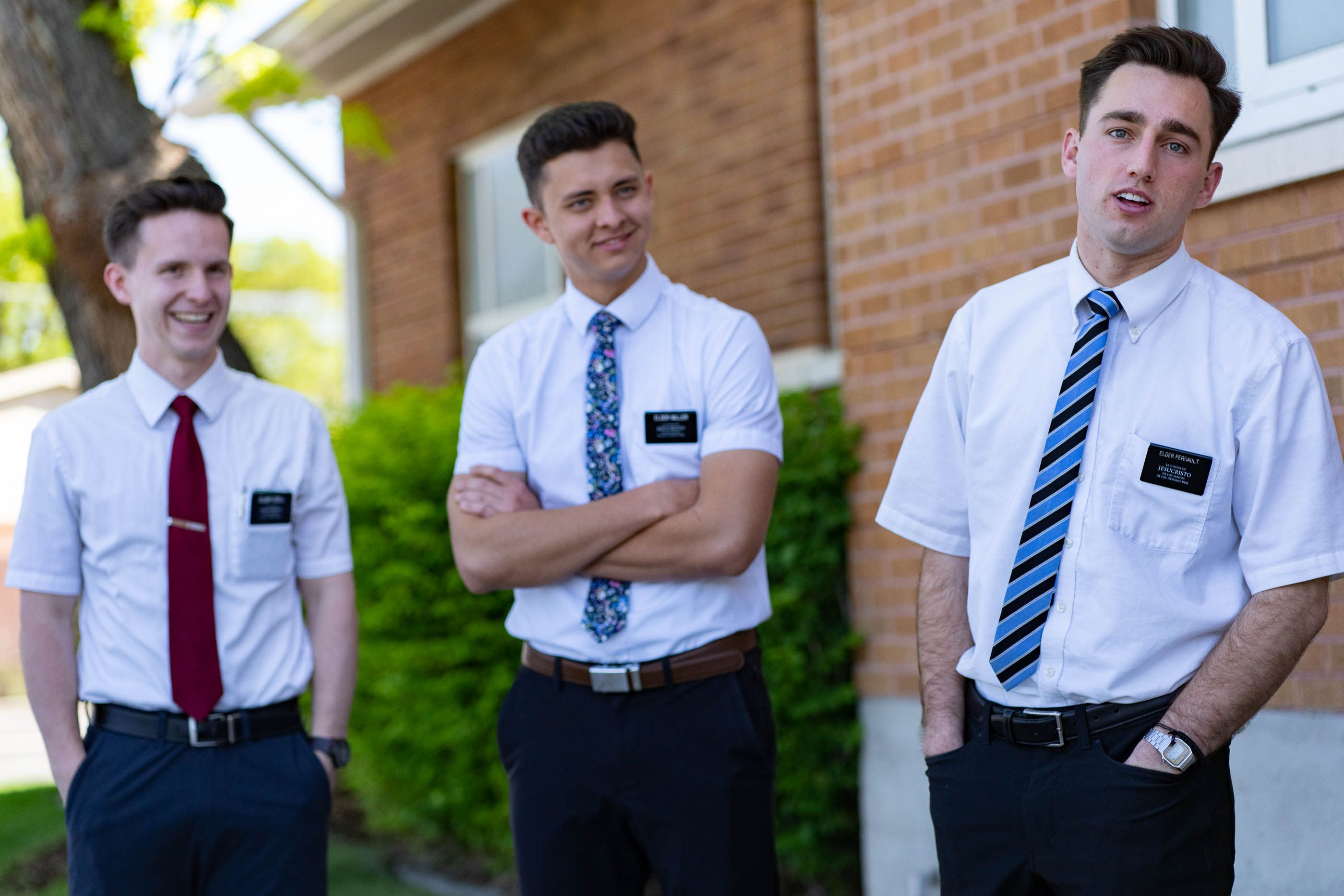 (Francisco Kjolseth | The Salt Lake Tribune) Full-time missionaries with The Church of Jesus Christ of Latter-day Saints — Jakob Ezell, left, of Seattle; James Miller of Laie, Hawaii; and Seth Perrault of Fresno, Calif., talk about finding potential converts through social media, rather than door-to-door contacting, on Tuesday, May 18, 2021.