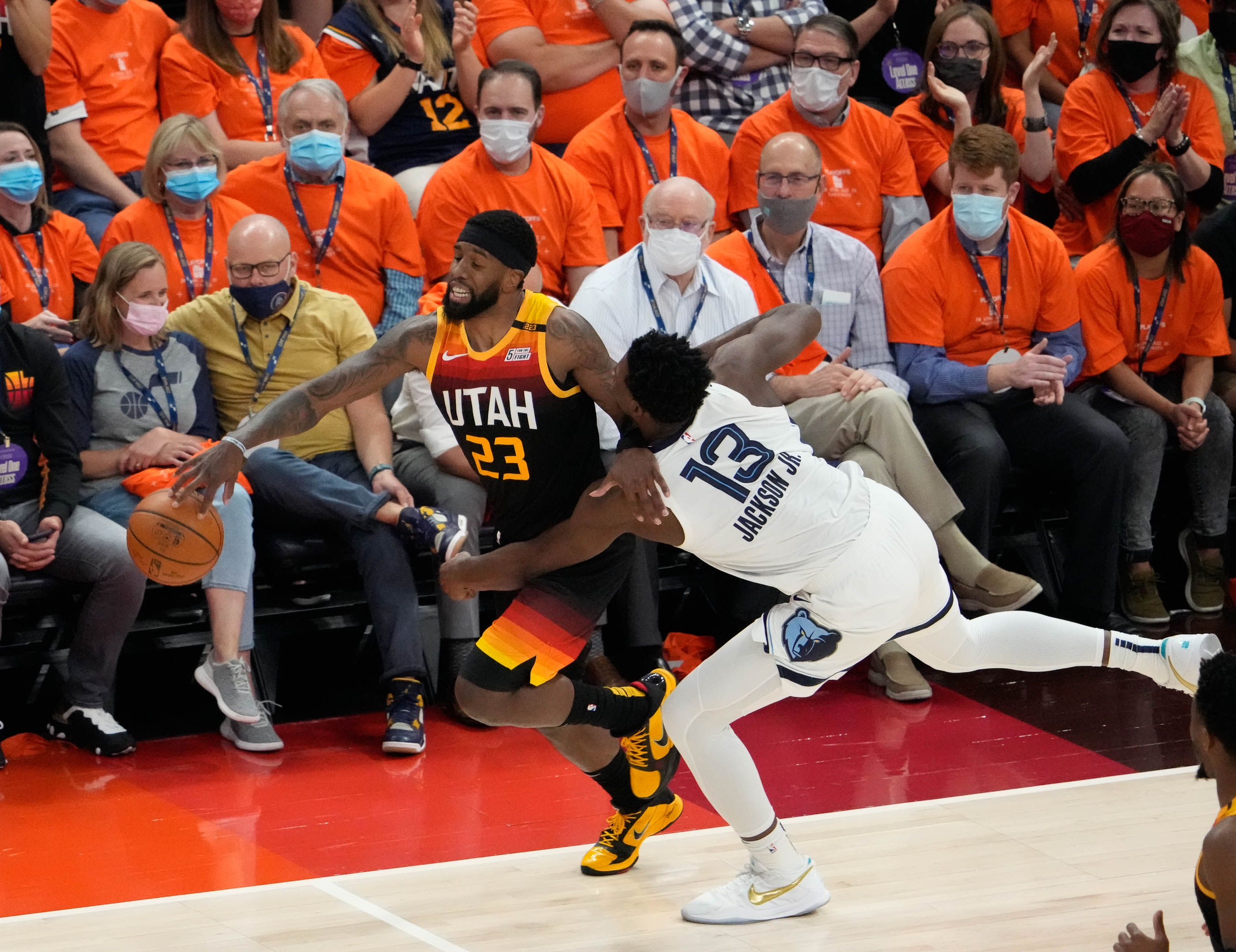 (Francisco Kjolseth | The Salt Lake Tribune) Utah Jazz forward Royce O'Neale (23) is fouled by Memphis Grizzlies forward Jaren Jackson Jr. (13) in the first half of Game 5 of an NBA basketball first-round playoff series Wednesday, June 2, 2021, in Salt Lake City, UT.