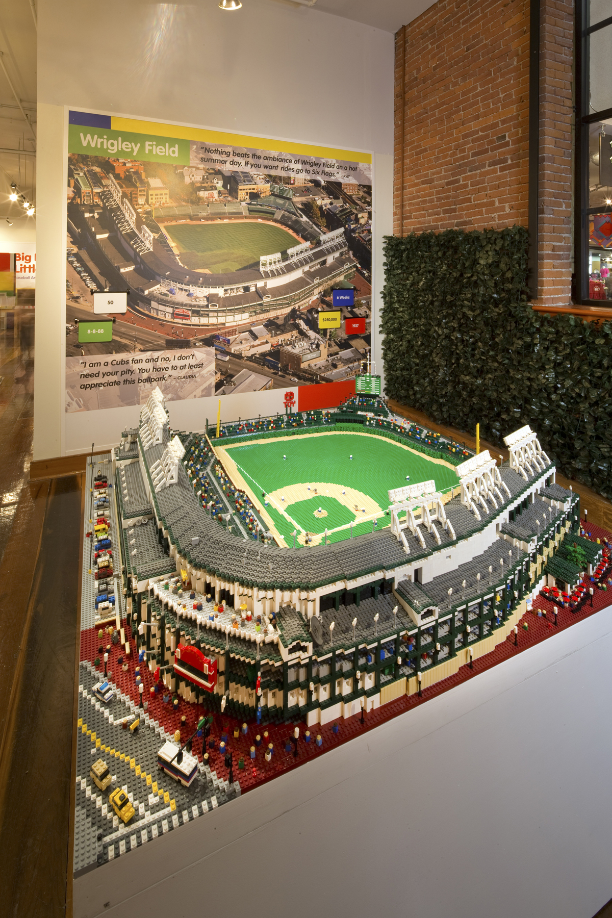 Double Play Delight  LEGO     Bricks and Baseball   Louisville Slugger     This jaw dropping 5 foot wide recreation of Wrigley took artist Sean Kenney  27 days and 58 000 LEGO bricks to complete  When you see in person at the  museum