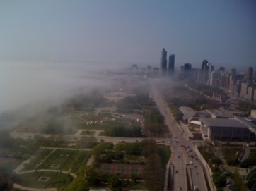 Creeping fog monster rolls in from lake, smothers city