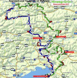 Motorradtour Slowenienkarte2017