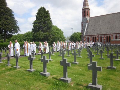 Clergy procession to grave