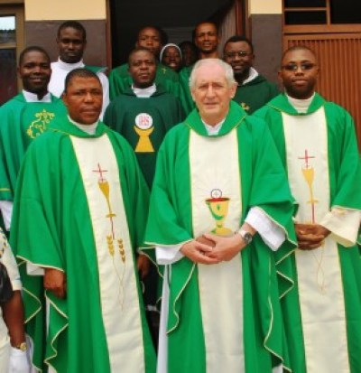 Fr Danny with SMA and other priests after the Thanksgiving Jubilee Mass at St Joseph's Church, Gowon Estate, Lagos