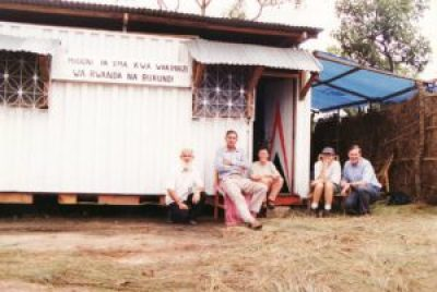 Fr Fionbarra and Fr Ed Hubert SMA with visitors to their 'home' in the refugee camp on the Rwanda border