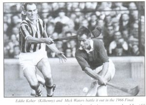 Mick Waters and Eddie Keher tussle for the ball