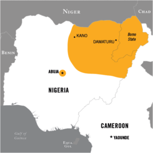 YELLOW INDICATES TERRITORY PREVIOUSLY CONTROLLED BY BOKO HARAM