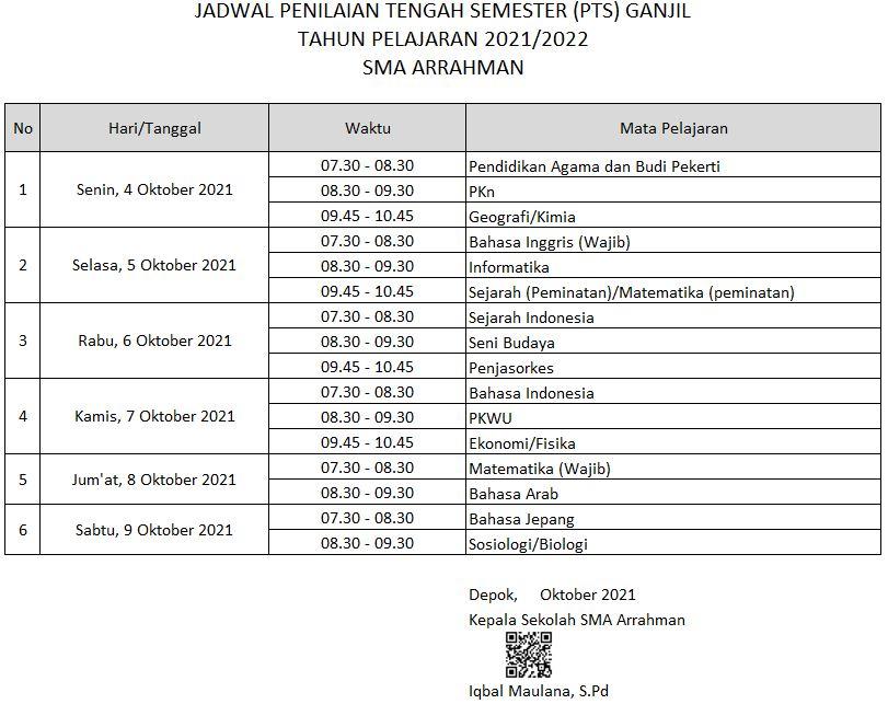 JADWAL PTS GANJIL 2021/2022