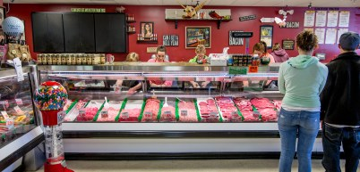 At the Double DD Meat counter.