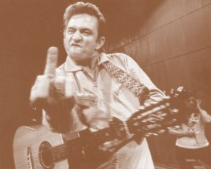 Johnny Cash - Live At Folsom Prison Giving the Finger Postcard