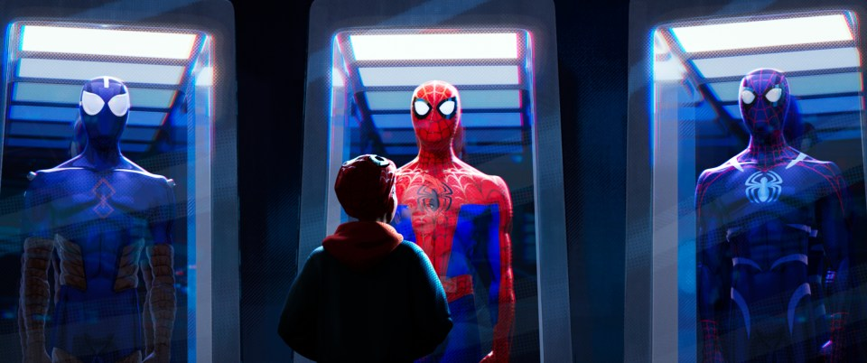 Spider-Man Into The Spiderverse Review: Miles Morales looking at the Spider-Man suit