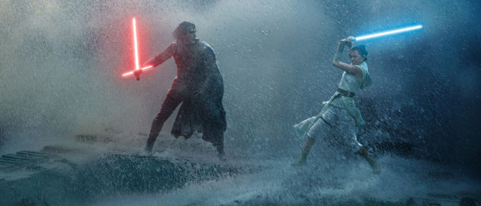 Kylo and Rey in battle in The Rise of Skywalker
