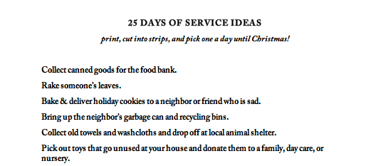 25 Days of Service Ideas