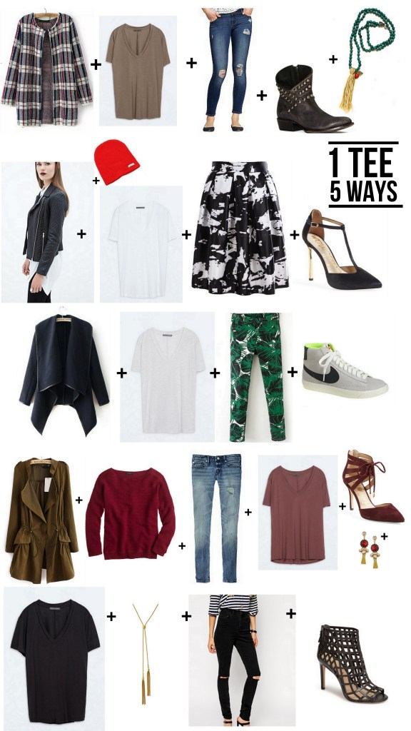 1 Tee 5 Ways | Fall 2014 Fashion