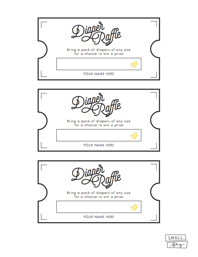 Soft image within printable diaper raffle tickets