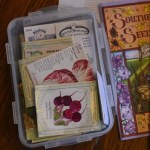 Seeds in their storage box, with a gasket-type seal, to use in planning this year's garden.