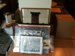 shrink-wrapped picture frames