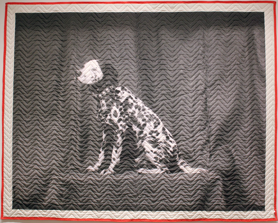 (above) Helen Altman, 'The Magician's Assistant,' 2009. Thermal transfer on quilted fabric, 75 x 95 inches