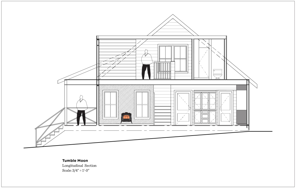 (above) By cutting away half of the house, we can see what the other half is up to. My floor plans and elevation drawings should help you understand this section drawing.
