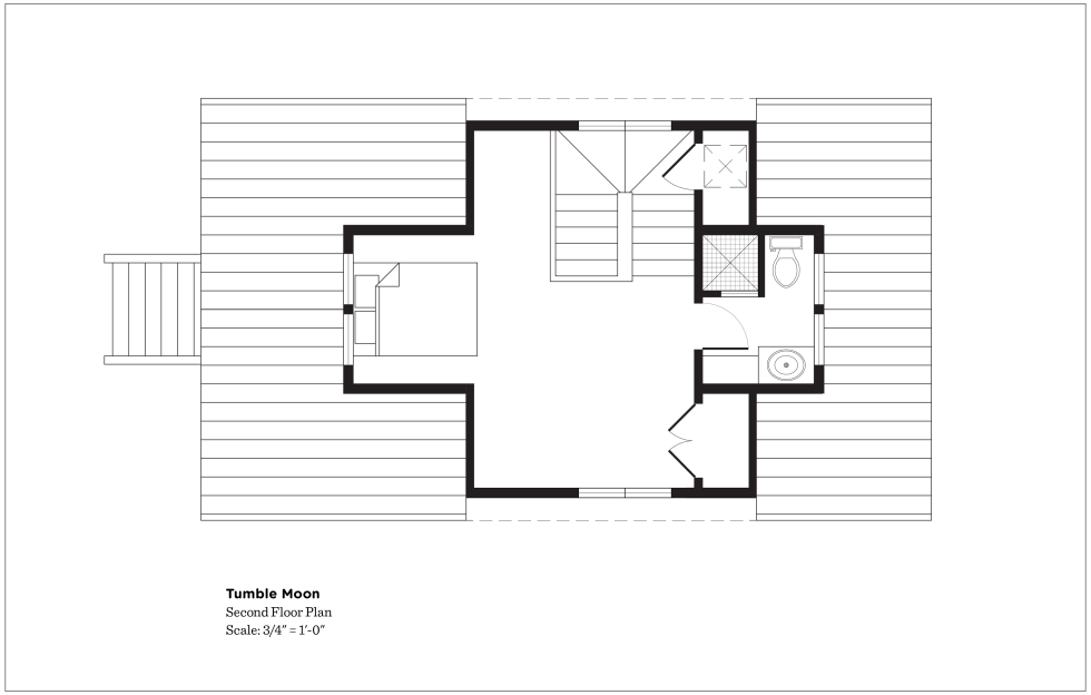 (above) The second floor with the master bedroom and bath has a total of 290 square feet. Other than the window at the bottom of the drawing, nothing else has changed in this plan. Charley has been drawing up the construction documents, and during this process he realized he will need to extend the bathroom further out onto the roof to make this room structurally secure or something like that. This will increase the square footage upstairs. But having a slightly larger bathroom is just fine with me. I still don't know what kind of furniture will be needed for the lower left corner. No hurry.