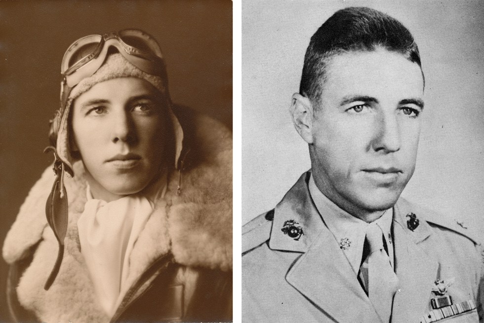 (above left) Frank F. Bell III as Captain, Naval Aviator, U.S. Marine Corps Reserve during World War II (1942–1945); (above right) Major Frank F. Bell III, Naval Aviator, U.S. Marine Corps Reserve, 1953