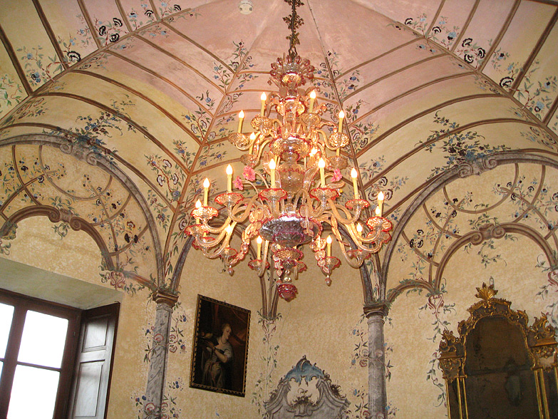 The Venetian room inside the palazzo on the Isola Madre, Lake Maggiore.