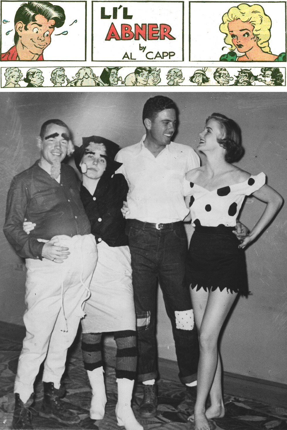 (above left to right) Godfrey and Mary Ann Collins as Pappy and Mammy Yokum, Ed and Joy Bell as Li'l Abner and Daisy Mae