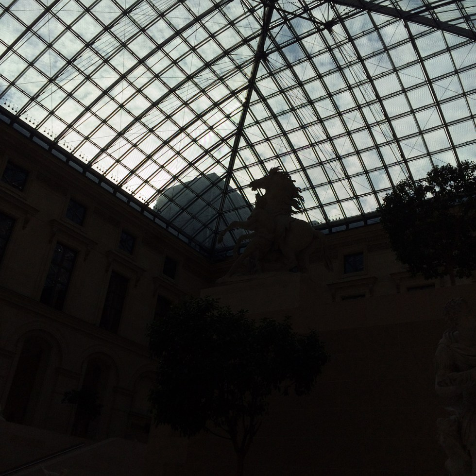 (above) This large courtyard is known as the Cour Marly where a collection of sculptures commissioned by Louis XIV now resides. In 1993, I.M. Pei and Michel Macary covered this old courtyard with glass in the same mode as the newly installed glass pyramid.