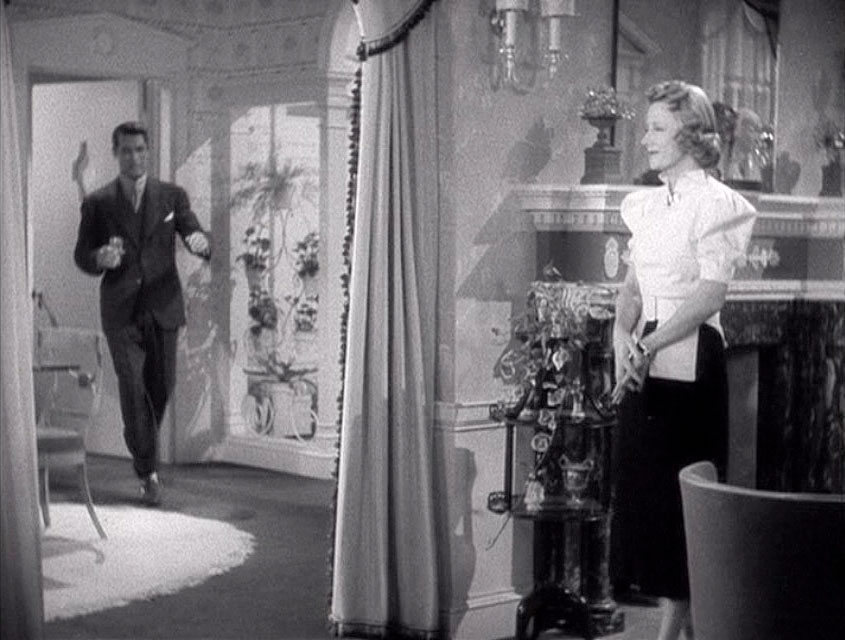 (above) It's fun to figure out the floor plans in these sets. Here Cary Grant is sprinting from the kitchen, through the dining room (with the entry foyer to his left) and into the living room.