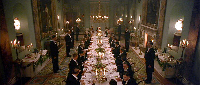 (above) Powderham Castle, formal dinner in the Music Room