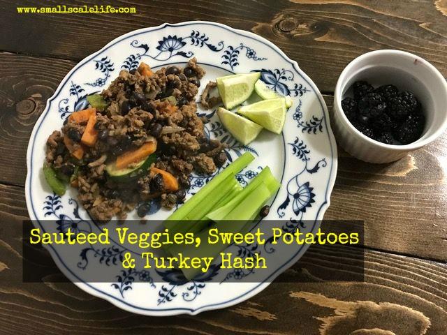 Sauteed Vegetable, Sweet Potato and Turkey Hash