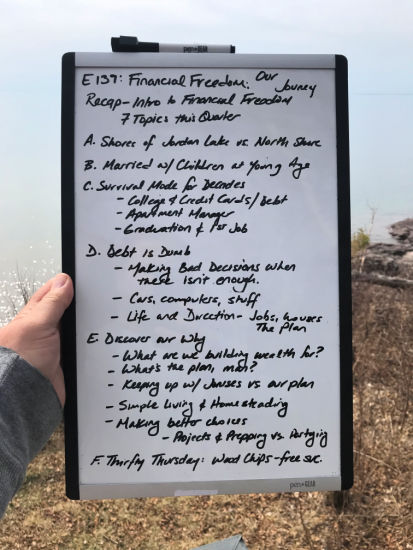 Our Journey towards Financial Freedom; Our Story; White Board