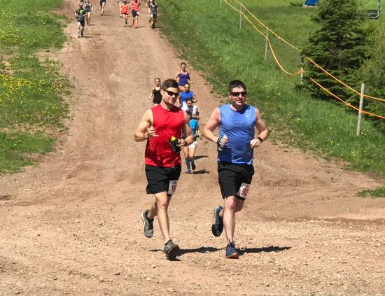 Danny and David running towards the finish line